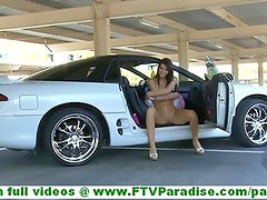 Racquel skinny innocent brunette girl showing naked pussy and posing and toying pussy in car