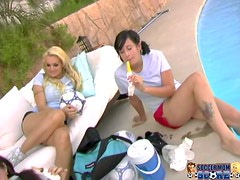 Monica Mayhem blows and gets fucked in the presence of her GFs