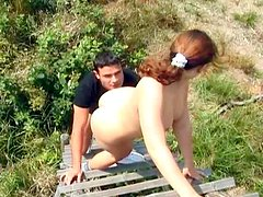 Country girl Martina has dirty doggy style sex in the open air