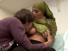 Busty and pretty Pakistani nympho provides a dude with a titjob at home