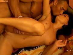 Kinky brunette provides a black dude with erotic massage and blowjob for cum