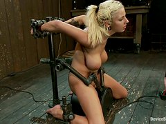 Big Breasted Blonde Lylith Lavey Forced to Ride a Sybian in Bondage Vid