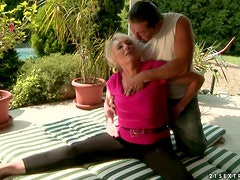 The Handsome Trainer Ends Up Fucking The Randy Granny