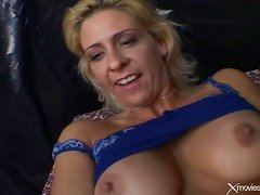 Toys fill holes of blonde in blue lingerie