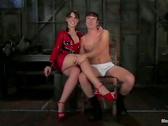 Dominatrix In Red Latex Gets Her Sexual Slave To Please Her! Lucky Bastard!