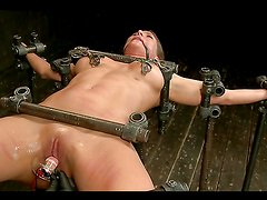 Bondage device fucking whore getting abused!