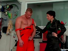 Mechanic submits to mistress and gets a footjob