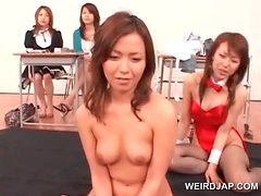 Asian hot doll submitted to sexual teasing in group