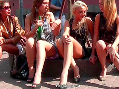 Young babes posing in public