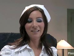 Kinky nurse Jezebel receives a double golden shower