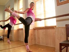Flexible brunette girl stretches in a gym