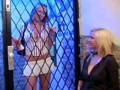 Amazing boomy babes eat and tease each other through the fence