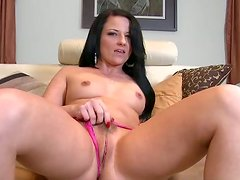Gorgeous tattooed brunette finger fucks herself and blows fat cock