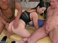 Big Busts Bitch Gets Two Horny Guys To Fuck Her Nonstop!