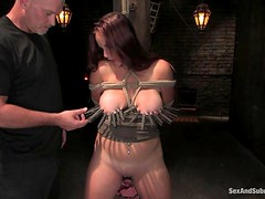 Bella Rossi gets clothespinned and fucked rough
