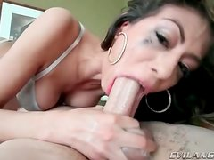 She spits up and gags when sucking dick