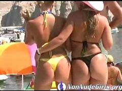 Asses in thongs on party boats