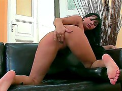 Angel Pink taking sex toy in her love tunnel