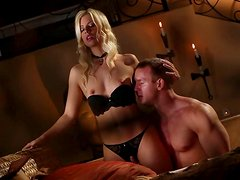 Adorable blonde temptress Jessie Volt knows how to give a nice blowjob