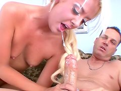 Slutty blonde is drinking sperm from wineglass