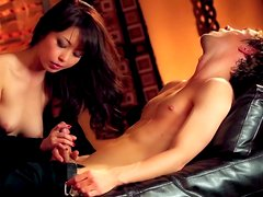 Rapacious hot brunette in high boots Marika Hase gives a solid blowjob