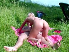 Awesome fuck with a cute teen chick doggy style outdoors