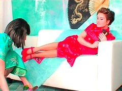 Toe sucking with women in silk dresses