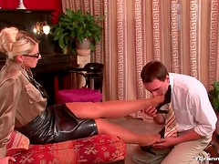 Girl in tight leather skirt dominates him