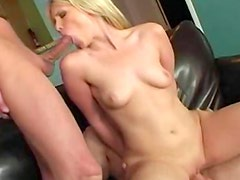 Blonde suck two dicks and eating tasty sperm