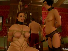 Two chicks Bella and Cherry are giving their master a double blowjob