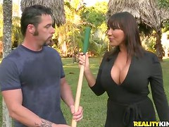 Brunette MILF gets fucked and creampied by a gardener