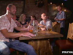 Three naughty girls and three hungry studs fucking in the pub