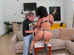 Teen latin with huge melons and trimmed pussy shows