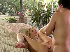 Turned on cheating blonde milf Julia Ann with big perfectly shaped knockers and bouncing ass gives