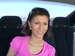 Pretty girl gets her shaved pussy fondled in the car