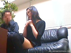Amateur Japanese Chick Getting Fucked on a Black Couch