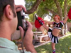 Dani Jensen's blows and gets her snatch drilled in the garden