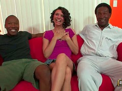 Isabella Amour gets her meaty pussy drilled hard by two black studs