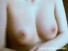 Small breasts girl in panties toys her pussy