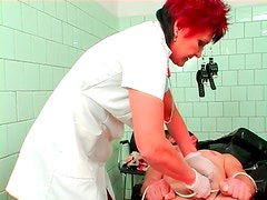 Rough CBT from mature nurse makes him hurt