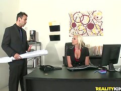 Pretty Skylar Price gets her tight pussy drilled in an office