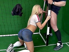 Blonde chick Kassey Krystal gives a head to pretty soccer player. She is standing