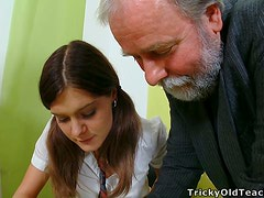 Nadya the hot teen in school uniform gets fucked by old man