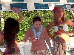 Chicks on the party boat look good in bikinis