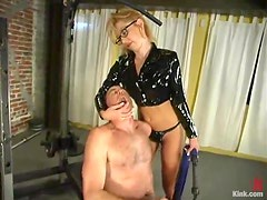 Blonde Dominatrix Humiliates Guy in the Gym in Femdom Vid