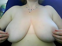 obese wife rubbing love melons on webcam