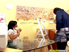 Slutty Loona Lux gets fucked by a plumber in an office