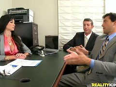 Slutty Jewels Jade gets threesomed in an office