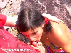 Brunette teen gets fucked at a beach in POV video
