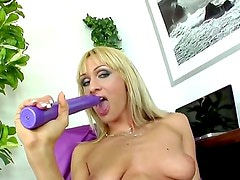 Provocative whorish blonde milf Cherry Cream with cheep heavy make up and long nails in